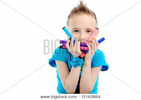 Portrait of a cute boy. Isolated over white background.