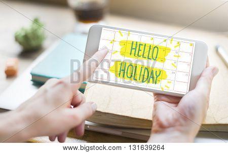 Hello Holiday Break Celebrate Enjoy Annual Concept