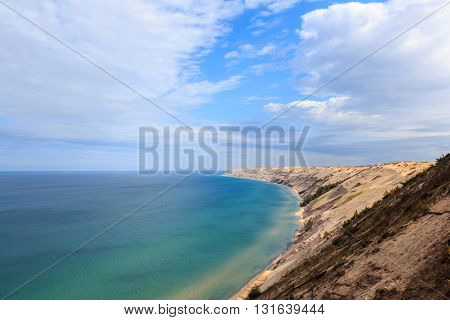 Grand Sable Dunes near Grand Marais Michigan. The Log Slide Overlook is part of Pictured Rocks National Lakeshore located between Munising and Grand Marais.