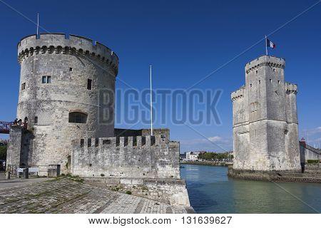 St. Nicholas and La Chaine towers La Rochelle Charente-Maritime France