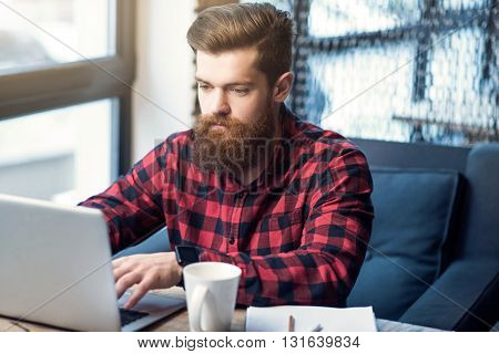 Keep modern pace. Pleasant delighted handsome  bearded man working on the laptop while sitting at the table