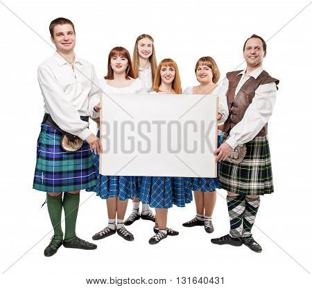 Group of dancers of Scottish dance with empty banner isolated