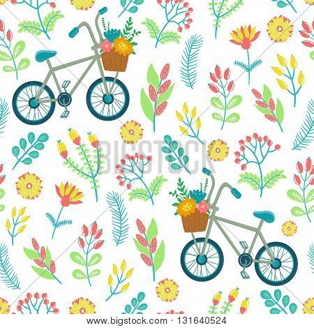 Vector seamless pattern with flowers, berries, leaves, branches, bicycle and text Hello summer. Bright childish texture.