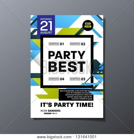 Party Flyer Template. Abstract Vector Design. Abstract Geometric Background.
