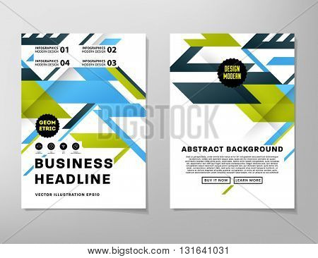 Geometric Vector Business Cards Backgrounds Set. Triangles Pattern. Flat Style Design