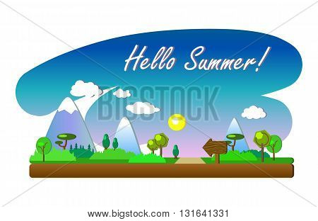 Hello Summer vector landscape in flat style, horizontal banner with mountains, sun and trees