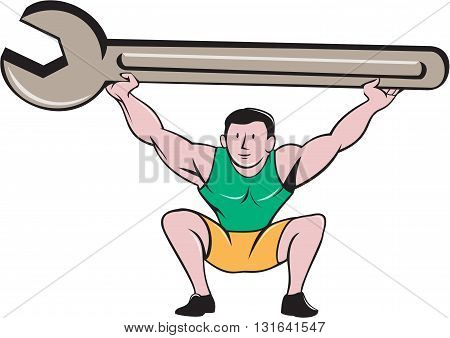 Illustration of a mechanic lifting giant spanner wrench over head and knees bent viewed from front set on isolated white background done in cartoon style.