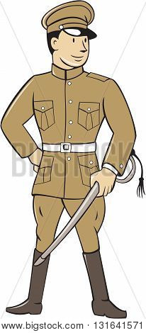 Illustration of a World War one British officer soldier serviceman standing holding sword looking to the side viewed from front set on isolated white background done in cartoon style.