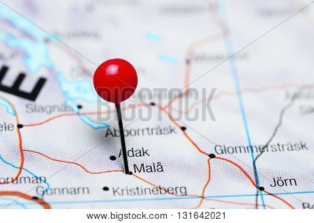 Mala pinned on a map of Sweden