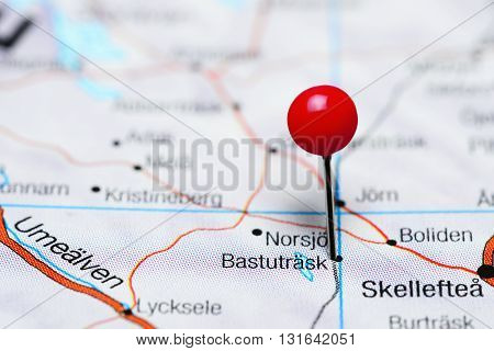 Bastutrask pinned on a map of Sweden