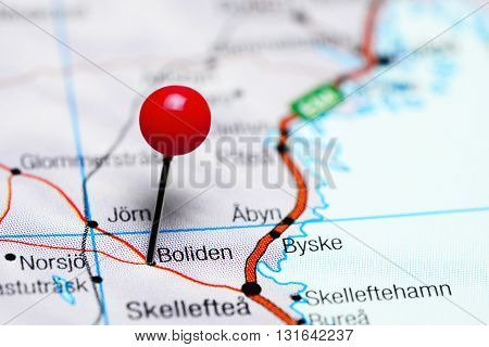 Boliden pinned on a map of Sweden