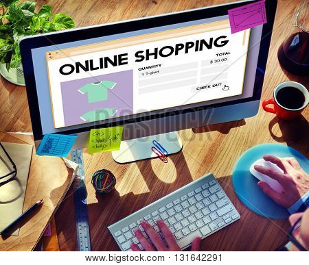 Online Shopping Buying Cart Internet Retail Digital Concept