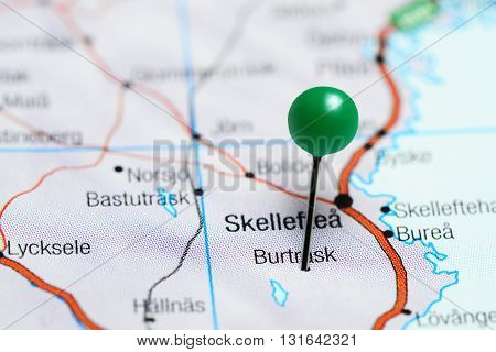 Burtrask pinned on a map of Sweden