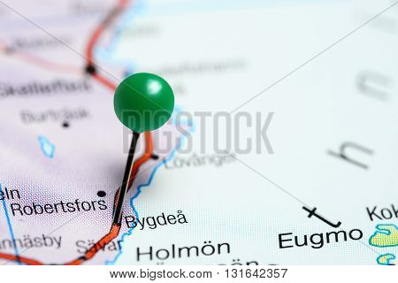 Bygdea pinned on a map of Sweden