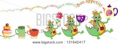 Happy dragons wish bon appetit. Cute card with dragons teacups and cupcake train. Vector illustration.