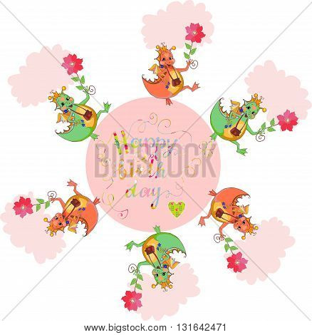 Happy birthday card with cute dragons and colorful lettering. Vector illustration.