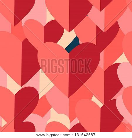 Vector festive graphic pattern of red and pink hearts