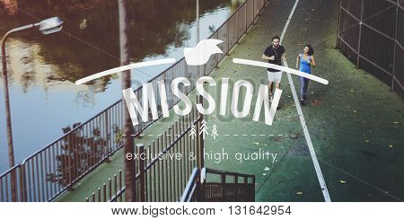 Mission Vision Goals Aim Strategy Concept