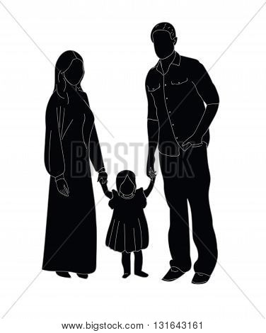 happy family portrait silhouette on a white background. vector