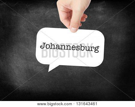 Johannesburg written on a speechbubble