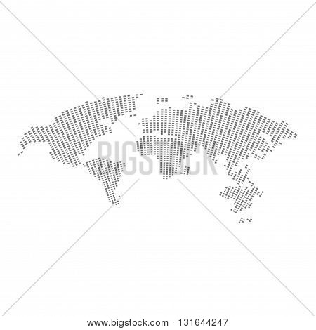 World map vector illustration isolated on white background stylized with square pixels shapes