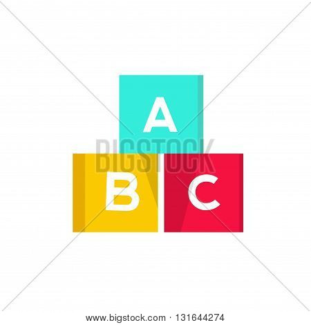 ABC cubes vector illustration building blocks with alphabet English letters logo design element concept of children game symbol education isolated on white background