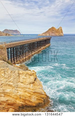 Bay of Hornillo at Aguilas on the Costa Calida with its 19th century pier