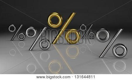 3D sign of golden percent on a dark background
