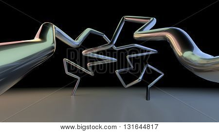3D abstract lines illustration on a dark background