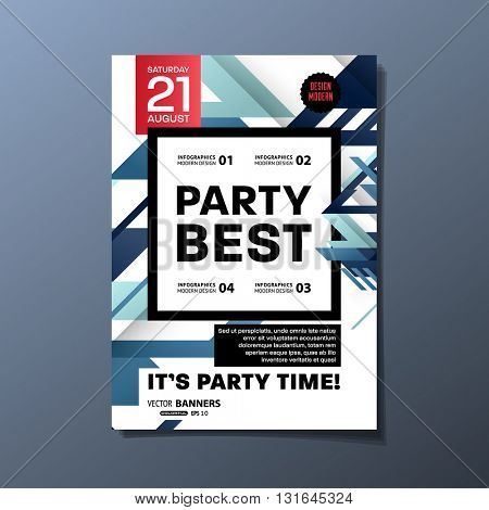 Party Flyer Template. Abstract Vector Design. Geometric Background.