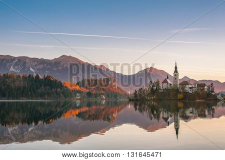 Lake With Island In Mountains