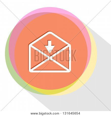 mail down arrow. Vector icon.