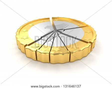 One coin pie chart concept 3d rendering