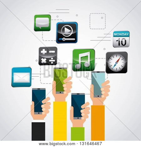 app store design hands and phones, vector illustration eps10 graphic