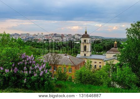 Belgorod city. Russia. View of the central part of the Belgorod region in the train station road. View from the St. Michael Church (1844 year of construction). City in fresh green plants.