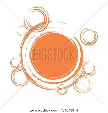 Abstract background frame with orange circles. Blank space in the center. Vector illustration in EPS8 format.