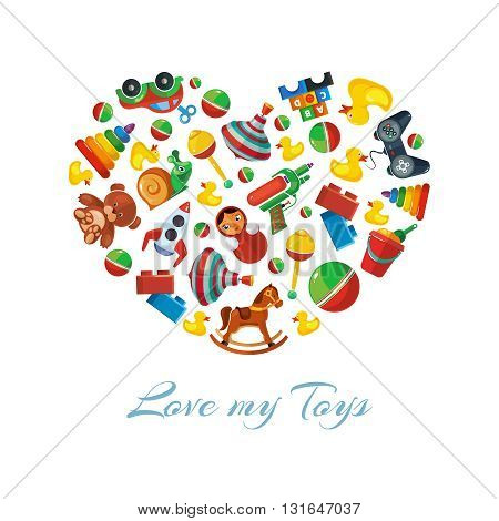 Toys icons for kids in shape of heart. Toys vector illustrations pack. Cartoon toys pattern