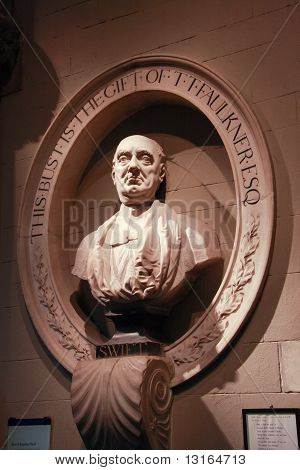 Dublin, Ireland - June 19, 2008: Grave And Bust  Of Writer And Satirist Jonathan Swift, Author Of Gu