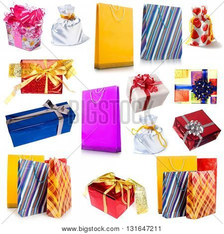 Collection of different gift wrapping and shopping bag isolated on white background