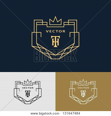 Vector illustration of Line graphics monogram. Abstract logo with crown. Vector template in trendy mono line style. Letter emblem TH. Minimal Design elements for company logo Restaurant Royalty Boutique Cafe Hotel