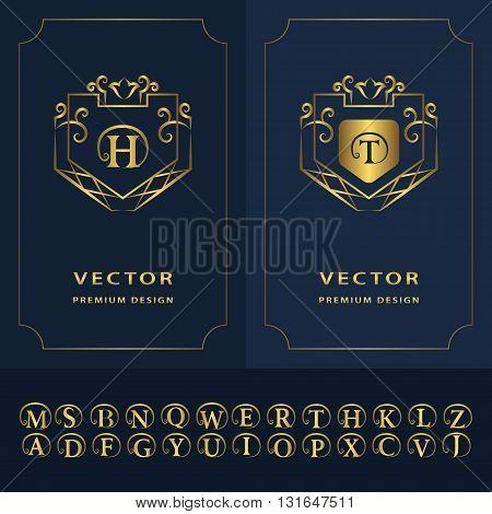 Vector illustration of Line graphics monogram. Modern creative cards. Abstract logo alphabet . Vector template. Gold letter emblem H T. Minimal Design elements for company logo Restaurant Royalty Boutique Cafe Hotel