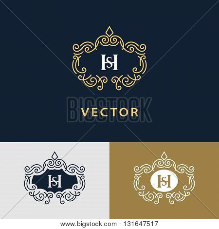 Vector illustration of Line graphics monogram. Elegant art logo design. Letter SH. Graceful template. Business sign identity for Restaurant Royalty Boutique Cafe Hotel Heraldic Jewelry Fashion. Vector elements