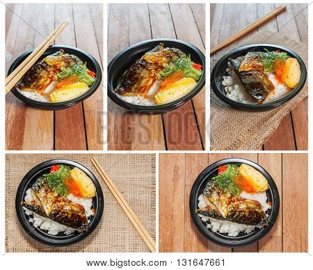 All collection japanese food style Saba fish grilled set with rice on wooden table in still life style