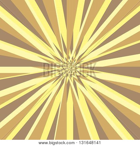 Burst abstract vector background. Explosion distortion effect. Yellow and brown stripes as a rays scatter from the center of the square. Vector illustration in EPS8 format.