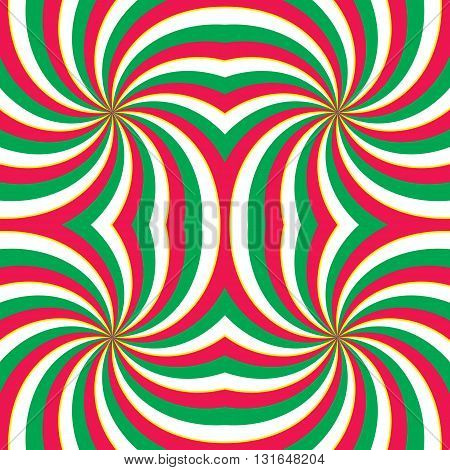 Hypnotic swirling radial vortex background. Red green and white stripes swirling into square. Vector illustration in EPS8 format.