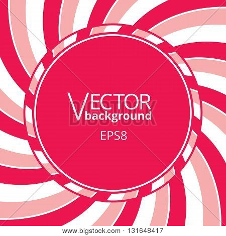 Swirling radial vortex background. Pink red and white stripes swirling around the round blank badge in center of the square. Vector illustration in EPS8 format.