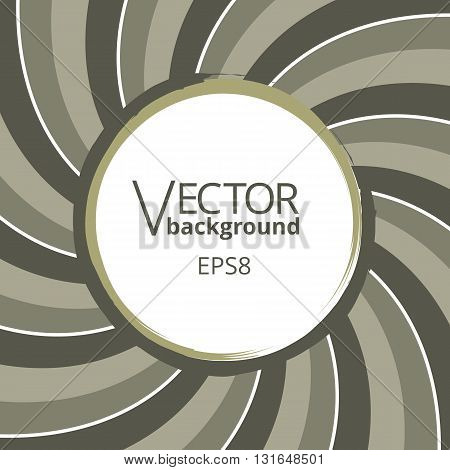 Swirling radial vortex background. Stripes swirling around the round blank badge in center of the square. Vector illustration in EPS8 format.