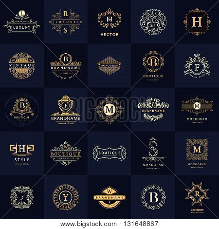 Vector illustration of Line graphics monogram. Vintage Design Templates Set. Business sign Letter emblem. Vector logotypes elements collection Icons Symbols Retro Labels Badges Silhouettes. Premium Collection