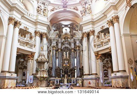 LVIV, UKRAINE - JUNE 30, 2014: Dominican cathedral interior in Lviv, Ukraine