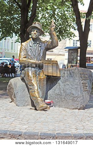 LVIV, UKRAINE - JUNE 30, 2014: Monument of naive painter Nikifor Epifaniusz Drowniak, Lviv, Ukraine. The monument by sculptor Sergey Oleshko was unveiled in 2006